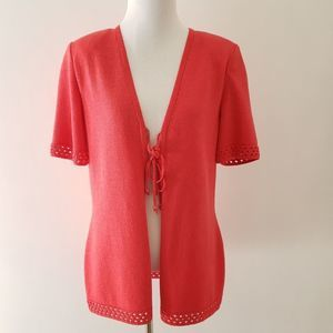 St. John Collection tie-front cardigan SS pink 6